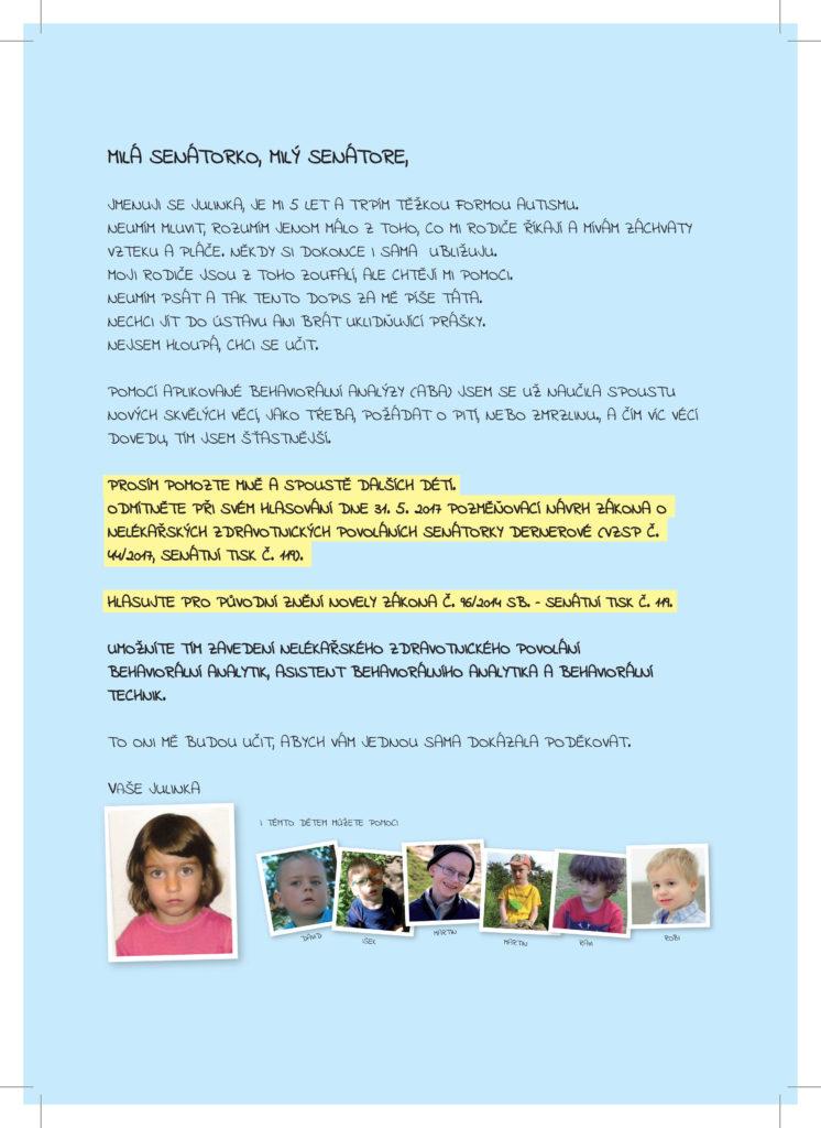 Otevřený dopis Senátu od auti dětí a rodičů